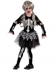 Disfarce esqueleto vivo menina