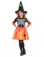 Disfarce bruxa esqueleto menina