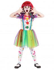 Disfarce palhaço com pintura colorido menina