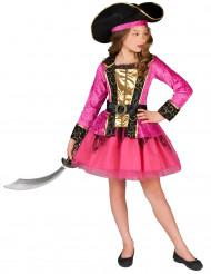 Disfarce Pirata cor-de-rosa e dourado
