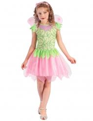 Disfarce fada verde e cor-de-rosa menina