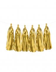 Grinalda tassel 12 pompons dourados metalizados