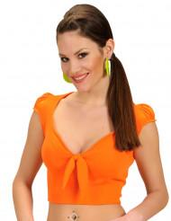 Top cor de laranja com laço sexy mulher