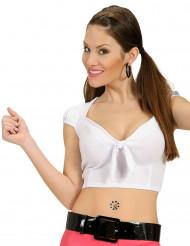 Top branco com laço sexy mulher