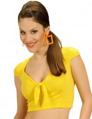Top amarelo com laço sexy mulher