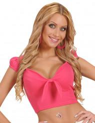 Top cor-de-rosa com laço sexy mulher