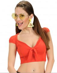 Top vermelho com laço sexy mulher