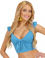Top azul com laço sexy mulher