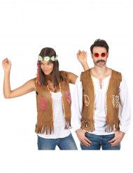 Disfarce de casal colete hippie adulto