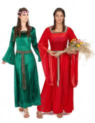 Disfarce de casal medieval mulher