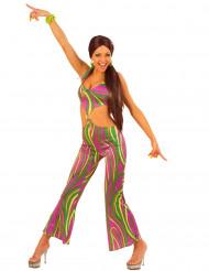 Disfarce anos 70 colorido mulher
