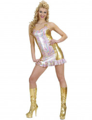 Disfarce holográfico colorido e dourado mulher