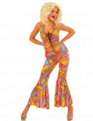 Disfarce macacão hippie colorido mulher