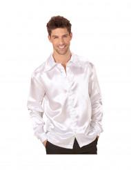 Camisa acetinada branca homem