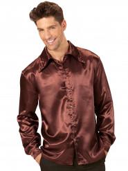 Camisa acetinada castanha homem