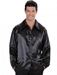 Camisa acetinada preta homem