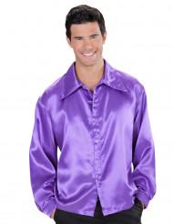 Camisa acetinada lilás homem
