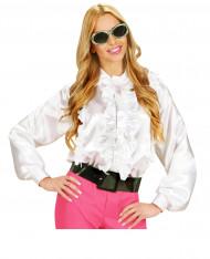 Camisa branca com folhos mulher