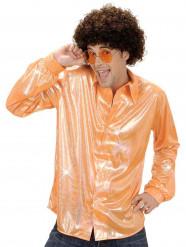 Camisa disco holográfica cor de laranja homem