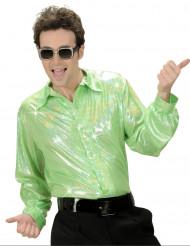 Camisa disco holográfica verde homem