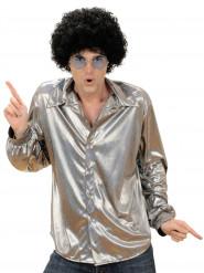 Camisa disco holográfica prateada homem