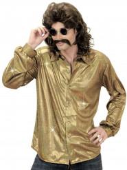 Camisa disco holográfica dourada homem