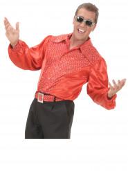 Camisa vermelha acetinada disco homem