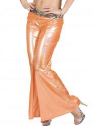 Calças disco holográficas cor de laranja mulher