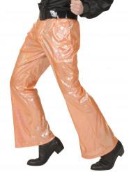 Calças disco holográficas cor de laranja homem