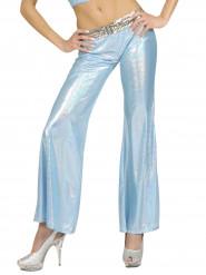 Calças disco holográficas azuis mulher