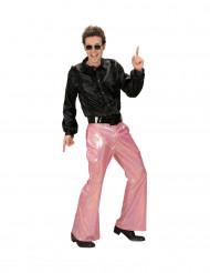 Calças disco holográficas cor-de-rosa homem