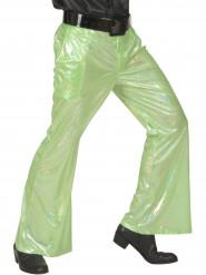Calças disco holográficas verdes homem