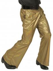Calças disco holográficas douradas homem