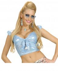 Top holográfico azul com laço sexy mulher