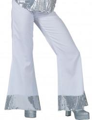 Calças disco brancas com lantejoulas na extremidade mulher