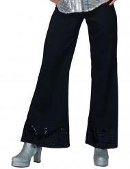 Calças disco pretas com lantejoulas na extremidade mulher