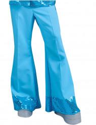 Calças disco azuis com lantejoulas na extremidade homem