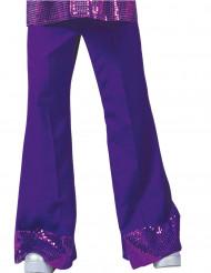 Calças disco lilás com lantejoulas na extremidade homem