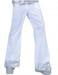 Calças disco brancas com lantejoulas na extremidade homem