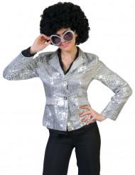 Casaco disco prateado com lantejoulas luxo mulher