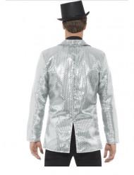 Casaco disco prateado com lantejoulas luxo homem