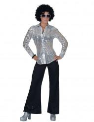 Camisa disco prateada com lantejoulas mulher