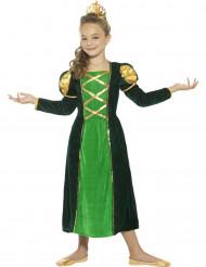 Disfarce rainha medieval verde menina