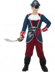 Disfarce capitão pirata azul e vermelho menino