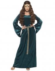 Disfarce rainha medieval verde mulher