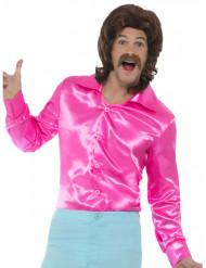 Camisa acetinada cor-de-rosa fluo homem