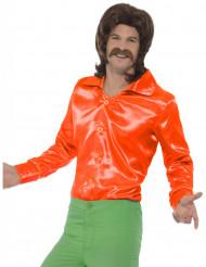 Camisa acetinada cor de laranja fluo homem