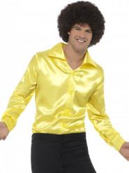 Camisa acetinada amarela fluo homem