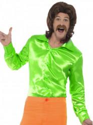 Camisa acetinada verde fluo homem
