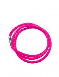 Pulseira entrançada cor-de-rosa fluo adulto